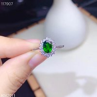 Cluster Rings KJJEAXCMY Fine Jewelry Natural Diopside 925 Sterling Silver Fashion Girl Adjustable Gemstone Ring Support Test