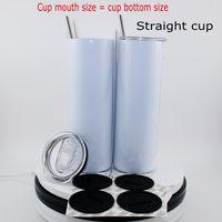Sublimation Tumbler blanc Verres en acier inoxydable Gobelers Bouteille d'eau Coupe d'auto avec couvercle Tasse à café de cuivre