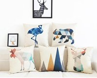 Cushion Decorative Pillow Home Decor Geometric Animals Case Cushion Cover Throw Decorative Sofa Living Room Cotton Linen Pillowcase 45x45