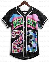 90S Bel Air Women 23 Baseball Jerseys 테마 파티 힙합 패션 블랙 화이트 스트라이프 셔츠 야구 유니폼 생일 파티, 클럽 및 펍
