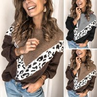 Women's Sweaters Hirigin Big V Pritned Leopard Patchwork Fashin Women Winter Spring Jumpers Streetwear Long Sleeve Knited Top Clothes