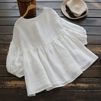 Fashion Summer Tunic Tops For Women 2021 Vintage Casual Female 3 4 Puff Long Sleeve White Linen Womans Wear Blusas Shirts Women's Blouses &