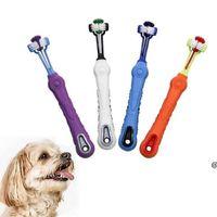Трехсторонняя собака для собак щенок щенок Многоуглавляемая зубная щетка очистки устной собаки зубоврачебный здравоохранение поставки HWF7083