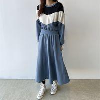 Autumn fashion casual chic stitching lamb hair hit color plus velvet sweater mid-length dress women 210510