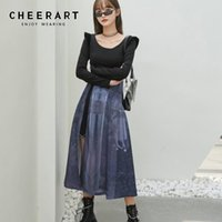 CHEERART Mystery Print Long Tunic Dress Women Long Sleeve Side Split Ladies A Line Autumn Dress Patchwork Desinger Clothes