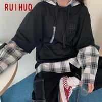 Мужские толстовки для толстовок для толстовки Ruihuo Patchwork Plade Hoodie мужская одежда Harajuku Топы с капюшоном в Японии Street streetwear M-2XL 2021