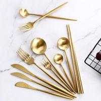 Dinnerware Sets Gold Cutlery Steak Knife Fork Coffee Spoon Teaspoon Butter Knives Dessert Chopsticks Stainless Steel Set