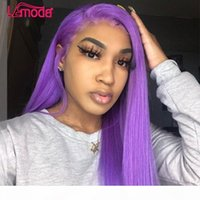 Фиолетовые цветные волосы для волос HD прозрачный кружевной фронтальный парик REMY бразильский сброшенный 13x1 прямой кружевной фронт для женщин