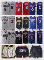 Hızlı Teslimat Georgetown Hoyas College Allen Iverson Formalar 3 Erkekler Basketbol Dr J Julius Erving 6 Wilt Chamberlain 13 Mavi Siyah Beyaz Kırmızı