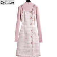Chevaliers pour femmes Cyanlee Tweed Laine Robe coréenne Femmes 2 PCS Set hiver élégant femme pull tricoté a-ligne tenue courte