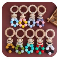 Grânulos coloridos Bebê Teether Anéis de Madeira Bead ToDdler Silicone Dentes Infantil Pequeno Brinquedos Brinquedos Madeira Denter Dentes Molar Stick 2596 Y2