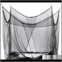 Bettwäsche liefert Textilien Home Garten-Drop-Lieferung 2021 4-Eck-Netting-Baldachin-Moskitonetz für Queen / King-Size-Bett 190 * 210 * 240 cm (schwarz