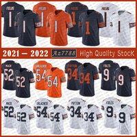 1 Justin Fields 52 Khalil Mack Jersey Football 34 Walter Payton 54 Brian Urlacher 9 Nick Fooles Magliette cucite di alta qualità