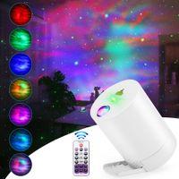 Gece Lambası Yıldızlı Gökyüzü Projektörü Su Dalga Lambaları LED Yıldız Müzik Dönen Uzaktan Kumanda Bluetooth Yatak Odası Başucu Lambası