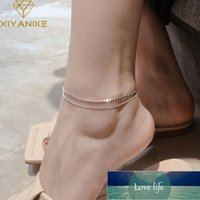 925 Sterling Silver New Trendy Double Layer Round Brand Anklet Female Simple Temperament Sexy Hot Chain
