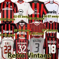 AC Milan Rétro Soccer Jersey 1990 2000 1962 1963 2007 2002 2003 2004 milan Classic Vintage Maillots de Football Shirt Gullit 1988 96 97 Van Basten Kaka Inzaghi Beckham maillot