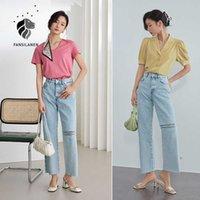 Fansilanen Escritório Lady100% Algodão Luz Luz-cor Rasgada Jeans Mulheres Verão Loose Solta Calças de Cintura Alta Cintura 210607