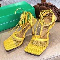 활주로 그물 메쉬 얇은 높은 뒤꿈치 샌들 여성 스퀘어 발가락 발목 스트리프 검투사 Sandalias 여름 섹시한 파티 나이트 클럽 신발 R83P