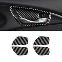 For Honda Civic 10th 2016-2021 Carbon Fiber Car Accessory Inner Door Handle Bezel Cover Frame Sticker Trim Interior Decoration