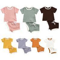 XYBB INS 9 색 아기 키즈 소녀 소년 어린이 의류 세트 니트 면화 정장 짧은 소매 탑 스트랩 반바지 2 피크스 여름 부티크 복장
