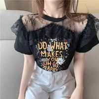 Women's T-Shirt Fashion Letter Printing Black TShirt Women Sexy Perspective Patchwork Lace T-shirts Tees Summer Short Sleeve Sweet Tops