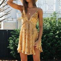 JASTIE 2021 Summer Slip Femmes Robe Floral Imprimer Volant Sexy Deep Vec Neckless Mini Robes Boho Hippie Chic Beach Vestidos Casual