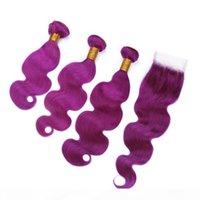 Vague Body Virgin Virgin Brésilien Violet Cheveux humains 3bungles avec une dentelle 4x4 Fermeture avant Pure Purple Cheveux humains Teins Double Wefts avec fermeture