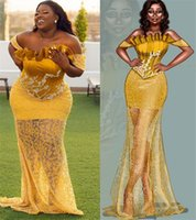 2021 Plus Size Arabic Aso Ebi Yellow Lace Sexy Prom Dresses Strapless Memraid Vintage Evening Formal Party Second Reception Gowns ZJ363