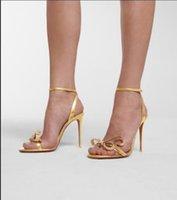 Luxe ontwerper zomer vrouwen sandalen jurk hoge hakken rode bodem vrouwen dansers hiel elegantie versierd loopy kristal-kralen boog enkelband