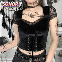 المرأة t-shirt sondr الداكن الأسود 2021 الأزياء الرباط التعادل قصيرة الأكمام أعلى ملهى ليلي مثير