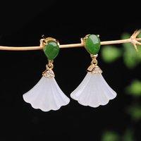 Silber eingelegter natürlicher hetian weißer jade fan ohrringe chinesisch stil retro frische fee fee charm weihnachten halloween geschenk baumel kronleuchter