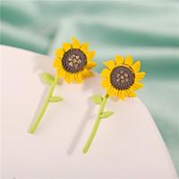 Милые окрашенные металлические серьги подсолнечника мода растения кактус цветочный гвоздики для женщин девушки 2021 ювелирные изделия