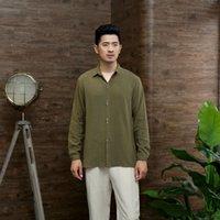Estilo velho pano grosseiro tang terno de manga comprida algodão cânhamo homens chineses casaco de fundo caseiro