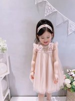 High Qulaity Summer Baby Girls Dresses Kids Girl Lace Cotton Dress Children pink clothing tops 80-160 size