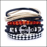 Bangle Bracelets Jewelrybangle European And American Navy Wind Alloy Ship Anchor Combination Bracelet Retro Personality Woven Cow Leather Ro