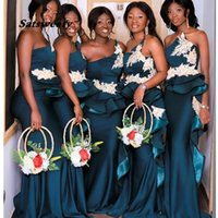 Plus Size African Mermaid Bridesmaid Dresses One Shoulder Lace Appliques Maid Of Honor Gowns Peplum Ruffles Wedding Party Gown