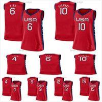 EE.UU. Equipo 2021 Tokyo Olímpicos Baloncesto 17 Skylar Diggins-Smith 4 Jewell Loyd 18 Gray 11 Elena delle Donne 7 Maya Moore 14 Tina Charles Red Mujeres Niños Hombres Jerseys
