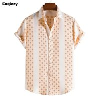 Men's Casual Shirts Summer Printed 2021 Plus Size Floral Short-Sleeved Shirt Top Blouse Men Hawaiian Clothing Chemise