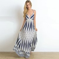 Size Women Clothing European and American Sexy V-neck Skirt with Shoulder Straps Vintage Printed Backless Long Dress plus 2021 Summer New