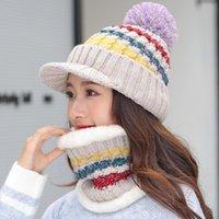 Jiangxihuui meninas de malha chapéu mulheres marca de alta qualidade bola inverno bola de esqui pompombots chapéus lenço gorro / crânio tampões