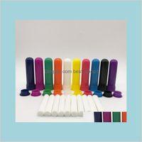 Jardin Décor Fragrances Huiles Diffuseurs 100 Ensembles Oil de couleur Aromathérapie Vierge Nasal Inhalateur Tubes Diffuseur avec Coton de haute qualité W MVTGK