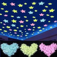 LED Toys 100pcs / bolso resplandor en las etiquetas engomadas de las estrellas fluorescentes 3D oscuras iluminadas luminosa para niños Dormitorio de bebé decoración Regalos de cumpleaños de Navidad A0521