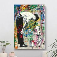 Dipinti Banksy e Boy Canvas Graffiti Street Art Poster Stampe Immagini Parete cuadros per soggiorno Decorazione della casa