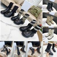 2021 Nuevo Botas cortas de tubo de espalda de alta calidad Botas cortas Famosas para mujer Diseñador de zapatos Moda de invierno Sin resbalón clásico bajo tacón de tacón de la letra de la letra 35-41