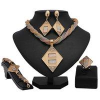 Earrings & Necklace Longqu 2021 Design Women Wedding Jewelry Set Fashion African Bridal Dubai Gold Colorful Wholesale