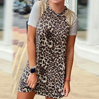 Casual Dresses 2021 Style Round Collars Short Women's Summer Lots Mini Clothing Leopard Print Paillettes Sewing Clothes