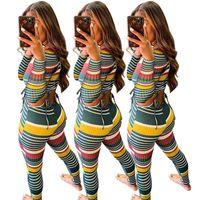 2021 Formas de mujer Abrigos Color Hilo Rayado Manga larga Traje de dos piezas Sexy Slim DHL