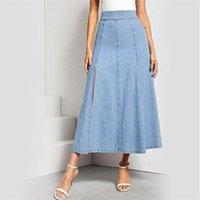Skirts 2021 Women Blue Ripped Casual Washed Denim A-Line Long Jean Skirt Womens Jupe Femme Faldas Mujer Moda