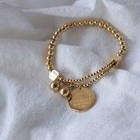 "Edelstahl Ball Perlen Armband für Frauen Kreis Tag Charme Stretch Strang Armband ""Fantastische ewige Liebe New York"""