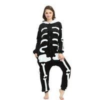 Cráneo kigurumi onesie adulto mujeres miedo esqueleto pijamas franela cálido suelto suave ropa de dormir onepiece invierno mono cosplay
